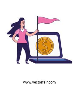 laptop computer and cartoon woman holding a flag, colorful design