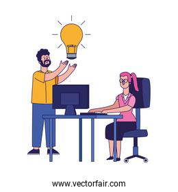 cartoon man with bulb and woman working at office desk, colorful design