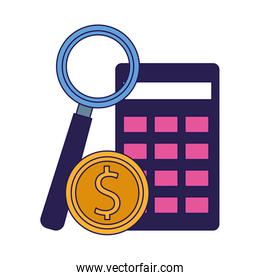 calculator, money coin and magnifying glass, colorful design