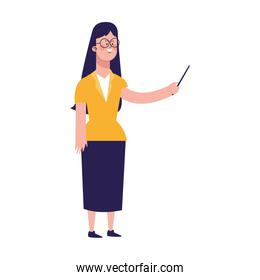 cartoon woman standing and pointing, colorful design