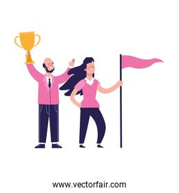 cartoon happy man holding a trophy and girl holding a flag, colorful design