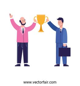 cartoon happy businessmen holding a trophy cup