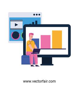 computer and man using a laptop computer, colorful design