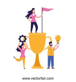 big trophy cup with women and man around, colorful design