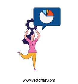 happy woman with gear wheel and speech bubble with graphic pie chart