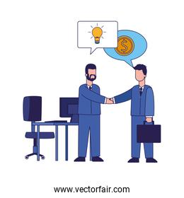 cartoon businessmen shaking hands at office