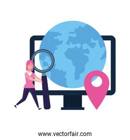 woman with magnifying glass and computer and earth planet