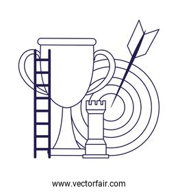trophy cup with target and rook piece, flat design