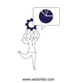 happy woman with gear wheel and speech bubble with graphic pie chart, flat design
