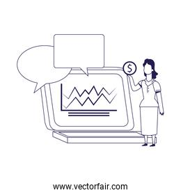 laptop computer with speech bubbles and woman holding a money coin, flat design