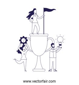 big trophy cup with women and man around, flat design
