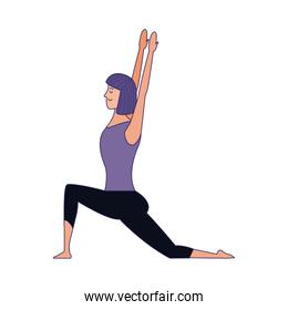 woman practicing yoga position