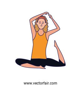 cartoon girl practicing yoga icon, colorful design