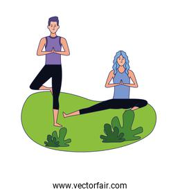 woman and man doing yoga on the grass, colorful design