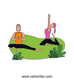 Happy woman and man doing yoga outdoors