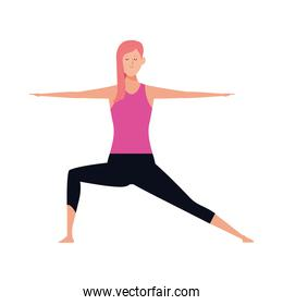 cartoon girl doing yoga icon