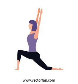 woman practicing yoga position, colorful design
