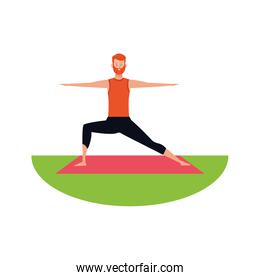 man practicing position on yoga mat, colorful design