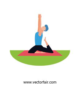 man doing yoga outdoors icon, colorful design