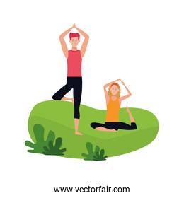 man and woman doing yoga outdoors