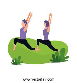 couple practicing yoga outdoors, colorful design