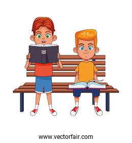 park bench with girl and boy reading books, colorful design