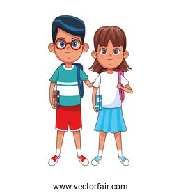 Happy boy and girl standing icon, colorful design