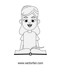 happy woman with academic book