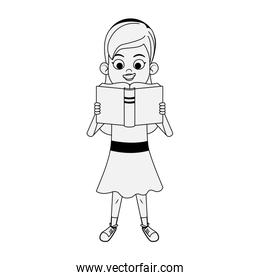 cartoon woman standing and reading a book