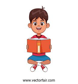 Happy boy sitting reading a book, colorful design