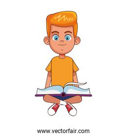 cartoon boy sitting and reading a book