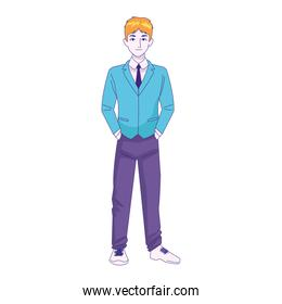 cartoon young man standing wearing suit, colorful design