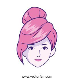 Woman face with cool hairstyle icon, colorful design