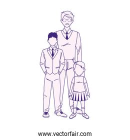 cartoon man with teenager boy and little girl