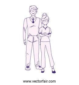 adult man and young girl standing, flat design