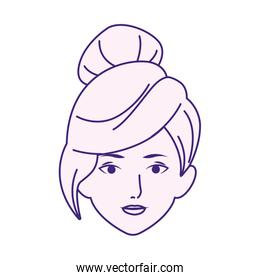 Woman face with cool hairstyle icon, flat design