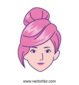 Woman face with cool hairstyle icon