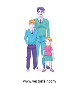 cartoon man with teenager boy and little girl, colorful design