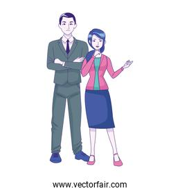 businessman and woman standing icon