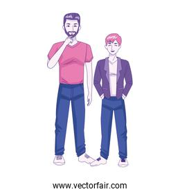 cartoon man with little boy icon, colorful design