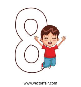 number eight with happy boy jumping