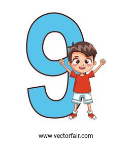 number nine with happy boy icon, colorful design