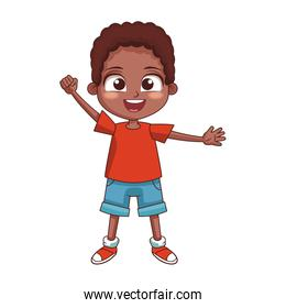 cartoon boy waving icon, colorful design