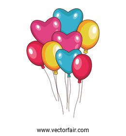 hearts balloons and colorful balloons
