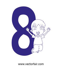 number eight with happy boy jumping, flat design
