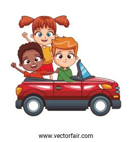 sport car with cute kids icon, colorful design