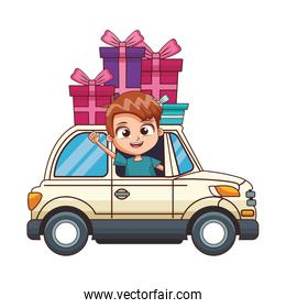 cartoon boy in a car with gift boxes, colorful design