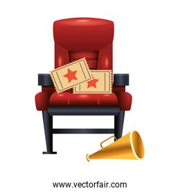 theater chair with movie tickets and megaphone