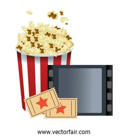 pop corn bucket with film reel and movie tickets