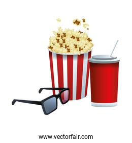 soda with pop corn bucket and 3d glasses